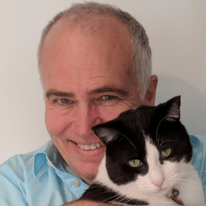 Very cute photo of Greg Johnston with his cat